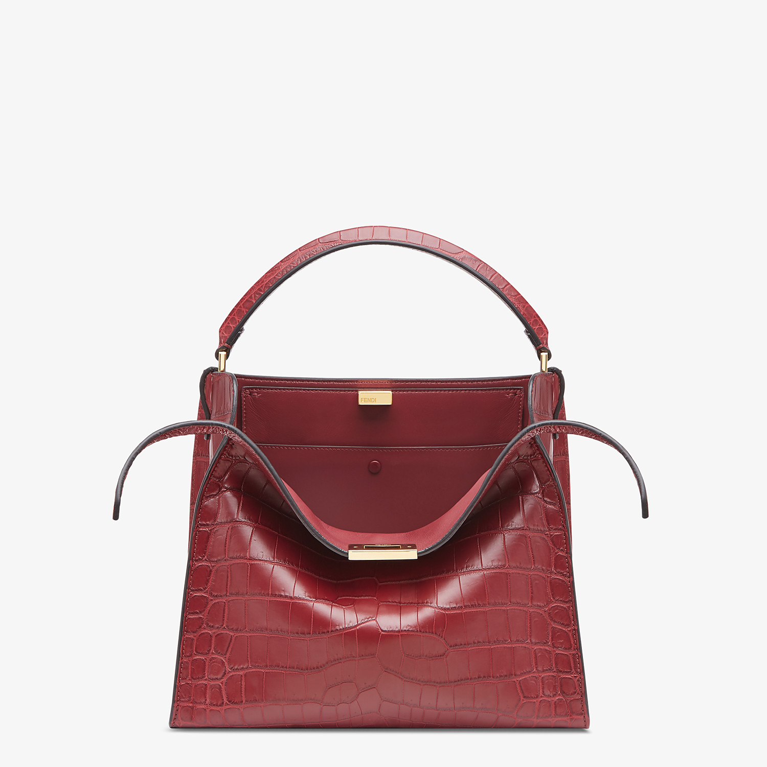 FENDI PEEKABOO X-LITE MEDIUM - Burgundy crocodile leather bag - view 1 detail