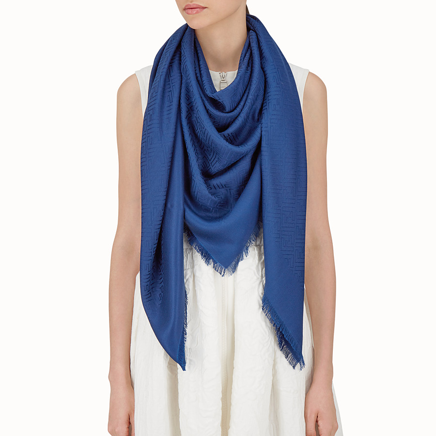 FENDI FF SHAWL - Shawl in blue wool and silk - view 3 detail