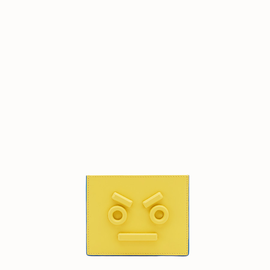 FENDI CARD HOLDER - Three-slot card holder in yellow leather - view 1 detail