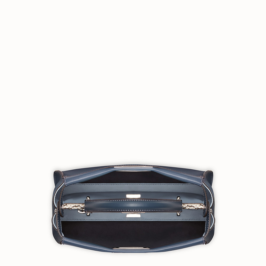 FENDI PEEKABOO REGULAR - Blue leather bag with exotic details - view 4 detail