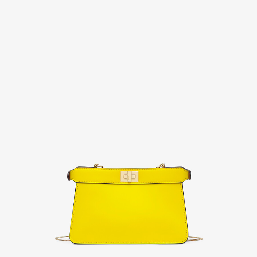 FENDI PEEKABOO I SEE U POCHETTE - Yellow nappa leather bag - view 3 detail