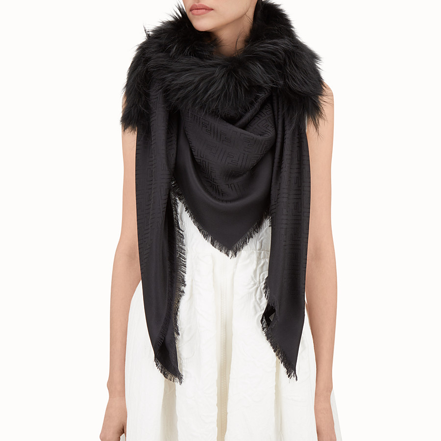 FENDI TOUCH OF FUR SHAWL - Black silk and wool shawl - view 3 detail