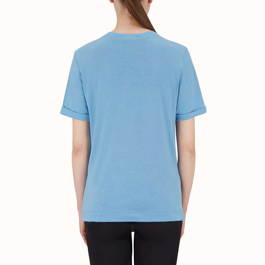 FENDI T SHIRT - Light blue cotton T-shirt - view 2 detail
