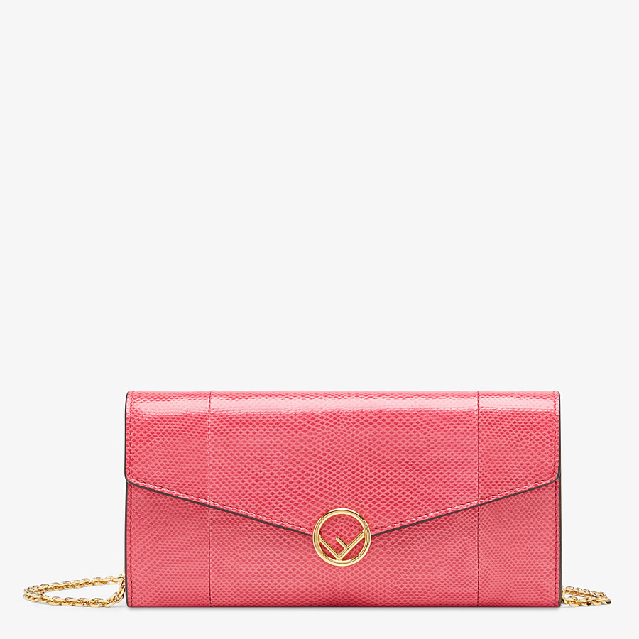 FENDI CONTINENTAL WITH CHAIN - Pink karung wallet - view 1 detail