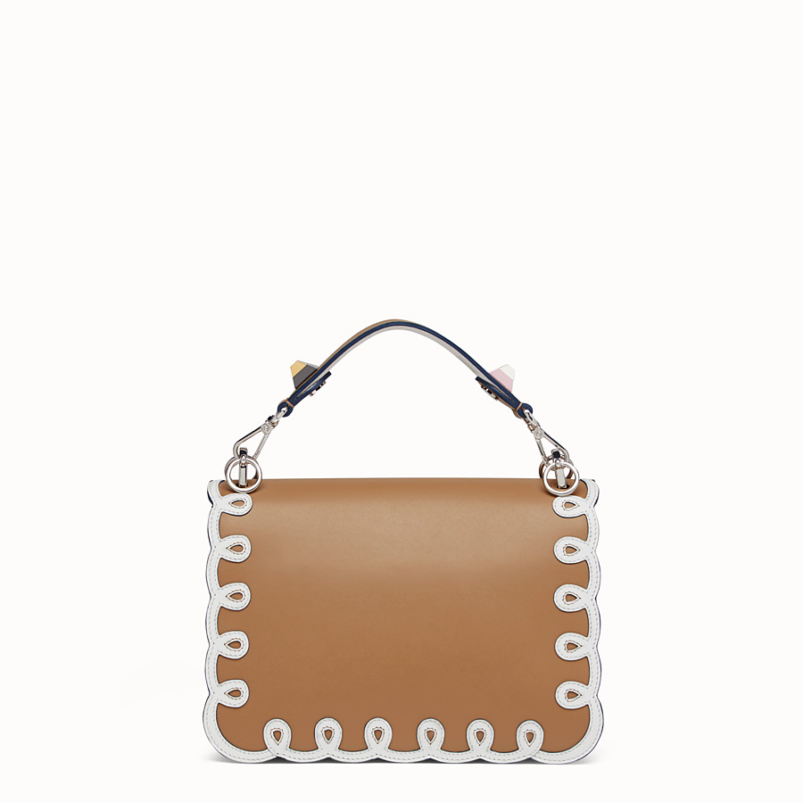 FENDI KAN I - Bag in white and natural-coloured leather - view 3 detail