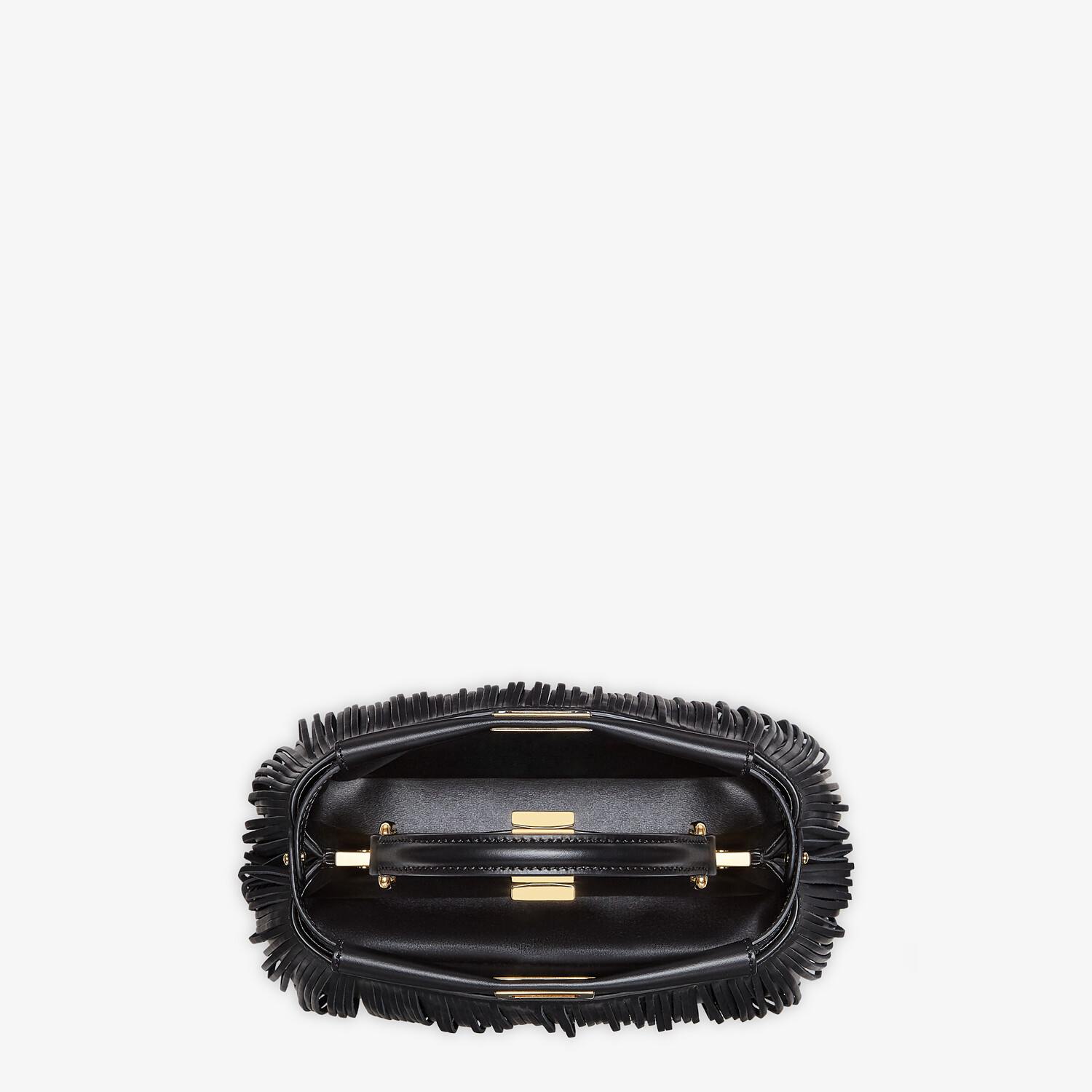 FENDI PEEKABOO ICONIC MINI - Black leather bag with fringes - view 5 detail