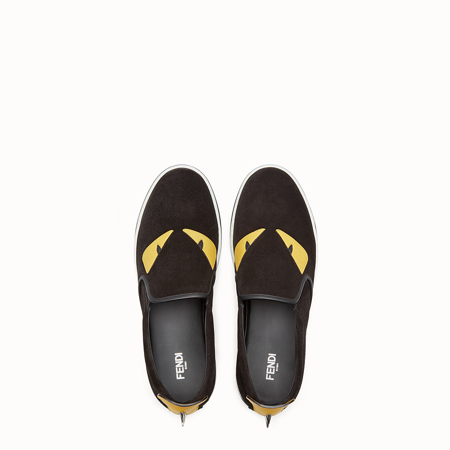 FENDI SNEAKER - Black leather slip-on - view 4 detail