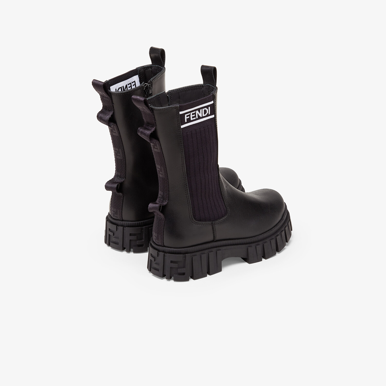 FENDI JUNIOR BIKER BOOTS - Black leather junior biker boots - view 3 detail