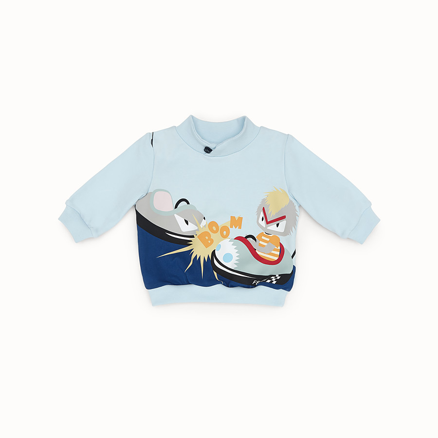 FENDI SWEATSHIRT - Light blue and multicolour cotton sweatshirt - view 1 detail