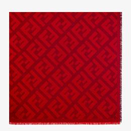 FENDI FF SCHULTERTUCH - Schultertuch aus Wolle und Kaschmir in Rot - view 1 thumbnail