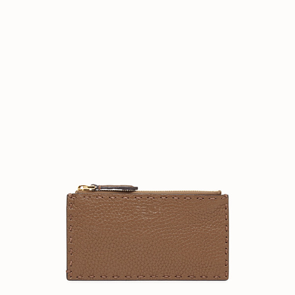 FENDI CARD POUCH - Brown leather pouch - view 1 small thumbnail
