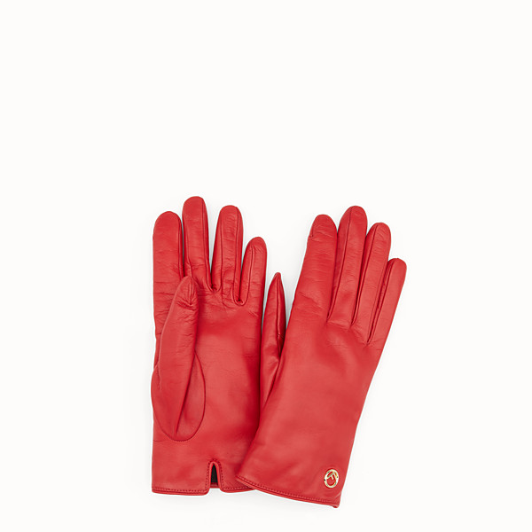 FENDI GLOVES - Gloves in red nappa leather - view 1 small thumbnail