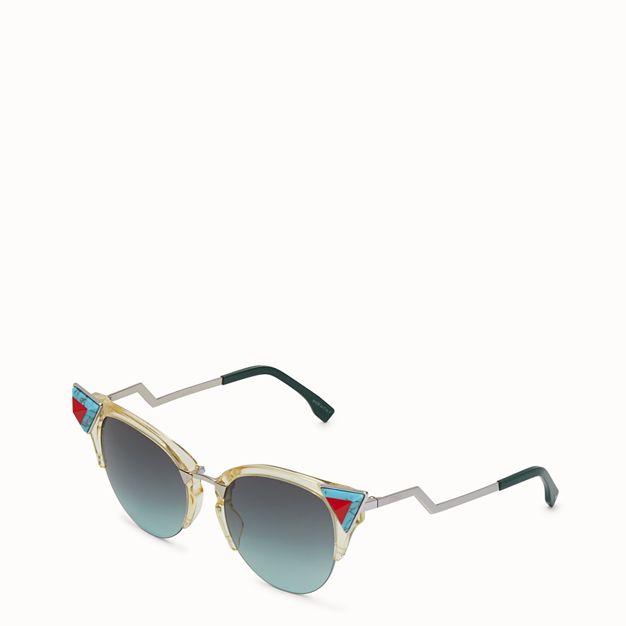 FENDI 이리디아 - 옐로우 컬러의 선글라스, 스톤 장식 - view 2 detail