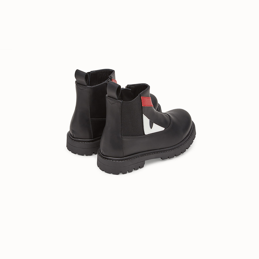 FENDI SHOES - Junior boy's black lambskin boots - view 3 detail