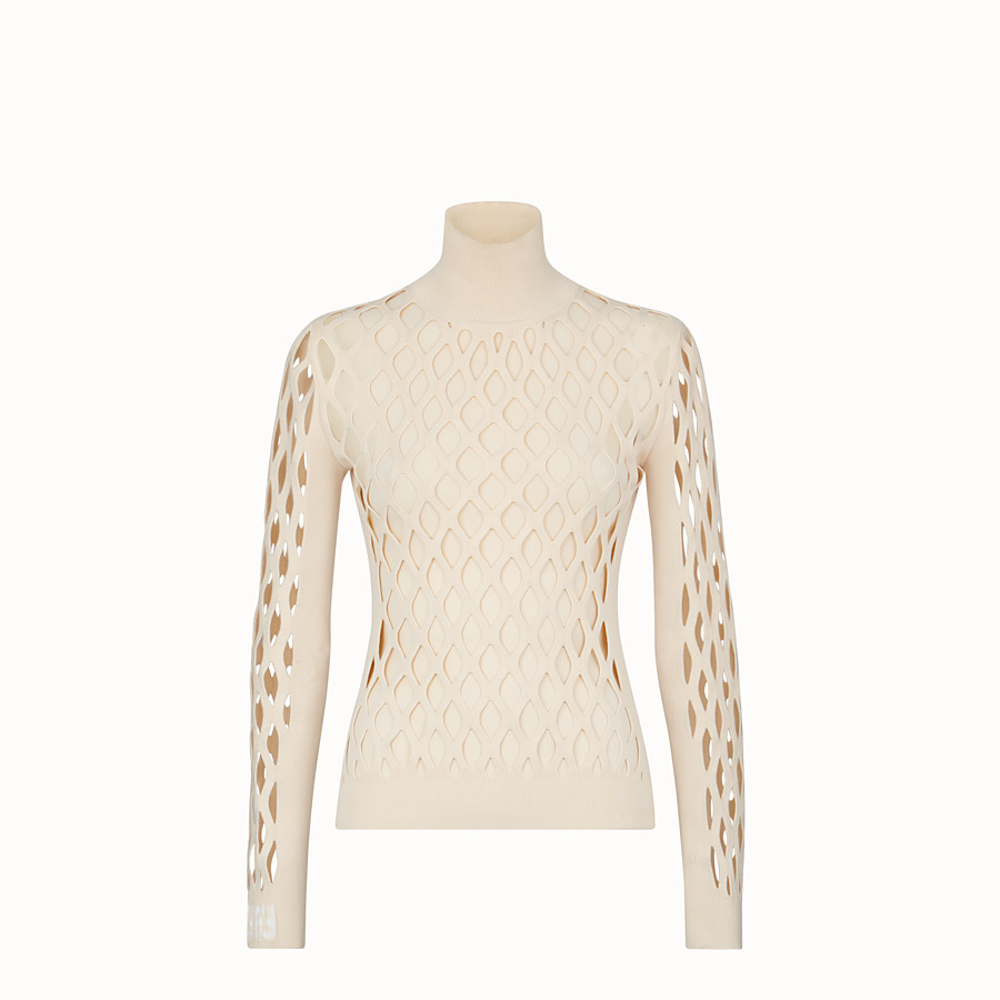 FENDI PULLOVER - Beige yarn jumper - view 1 detail