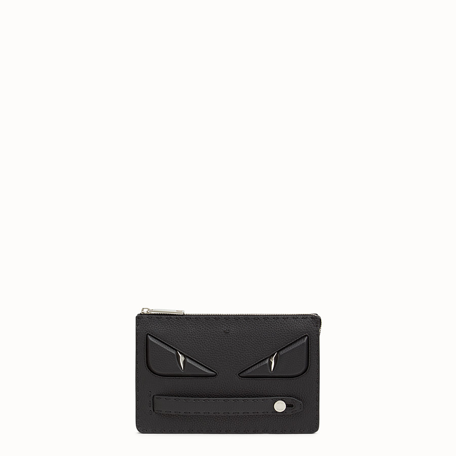 FENDI CLUTCH - in black Roman leather - view 1 detail