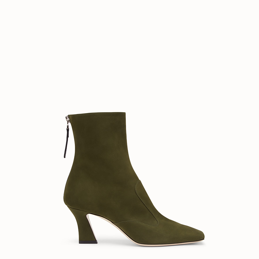 FENDI BOOTS - Booties in green nubuck leather - view 1 detail