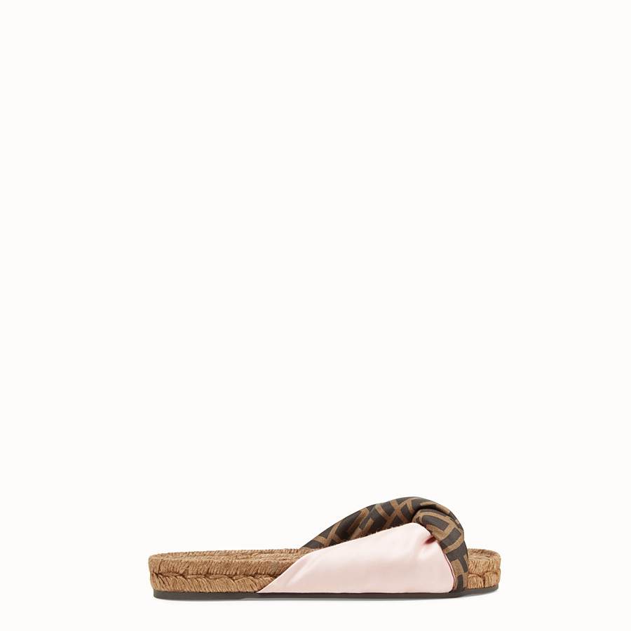 FENDI SANDALS - Pink satin slides - view 1 detail