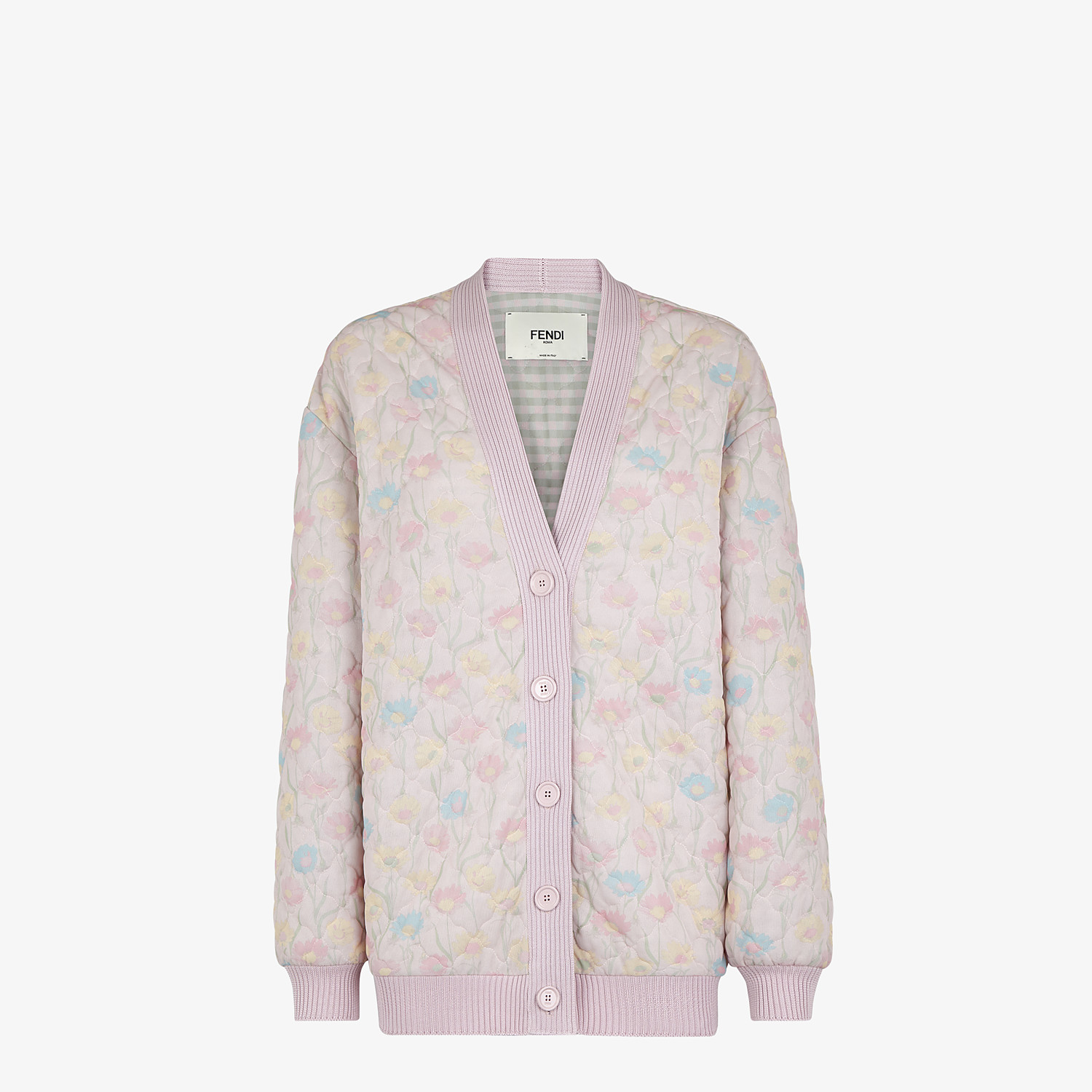FENDI JACKET - Pink quilted fabric blouson jacket - view 1 detail