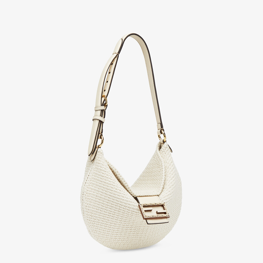 FENDI SMALL CROISSANT - White cotton bag - view 3 detail