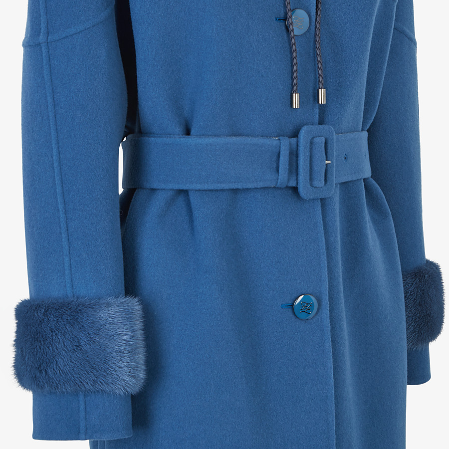 FENDI OVERCOAT - Blue wool parka - view 3 detail