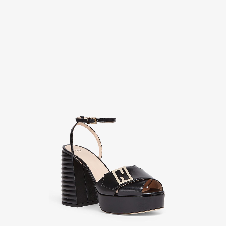 FENDI SANDALS - Black leather Promenade Sandals - view 2 detail
