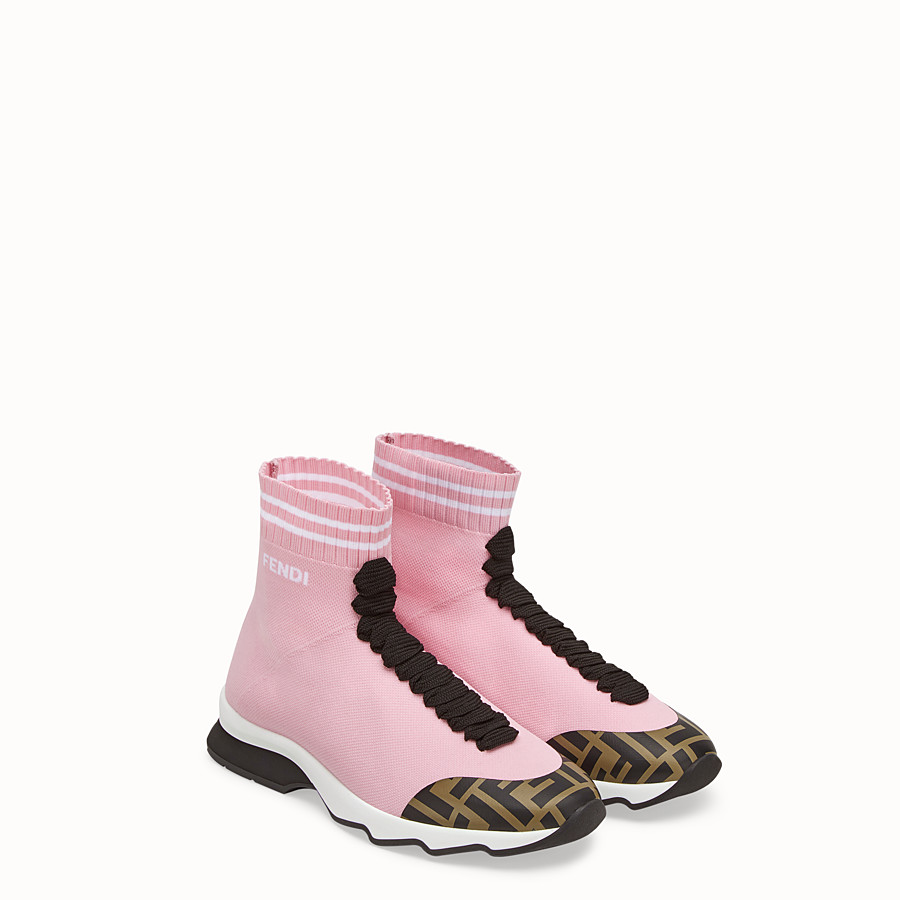 FENDI SNEAKERS - Pink fabric sneakers - view 4 detail