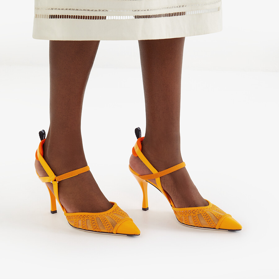 FENDI COLIBRI LITE SLINGBACKS - Orange micro-mesh slingbacks - view 5 detail