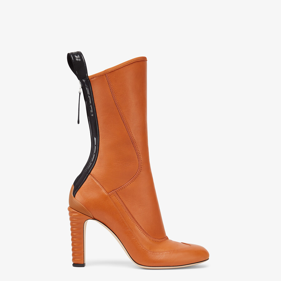 FENDI ANKLE BOOTS - Brown leather Promenade Booties - view 1 detail