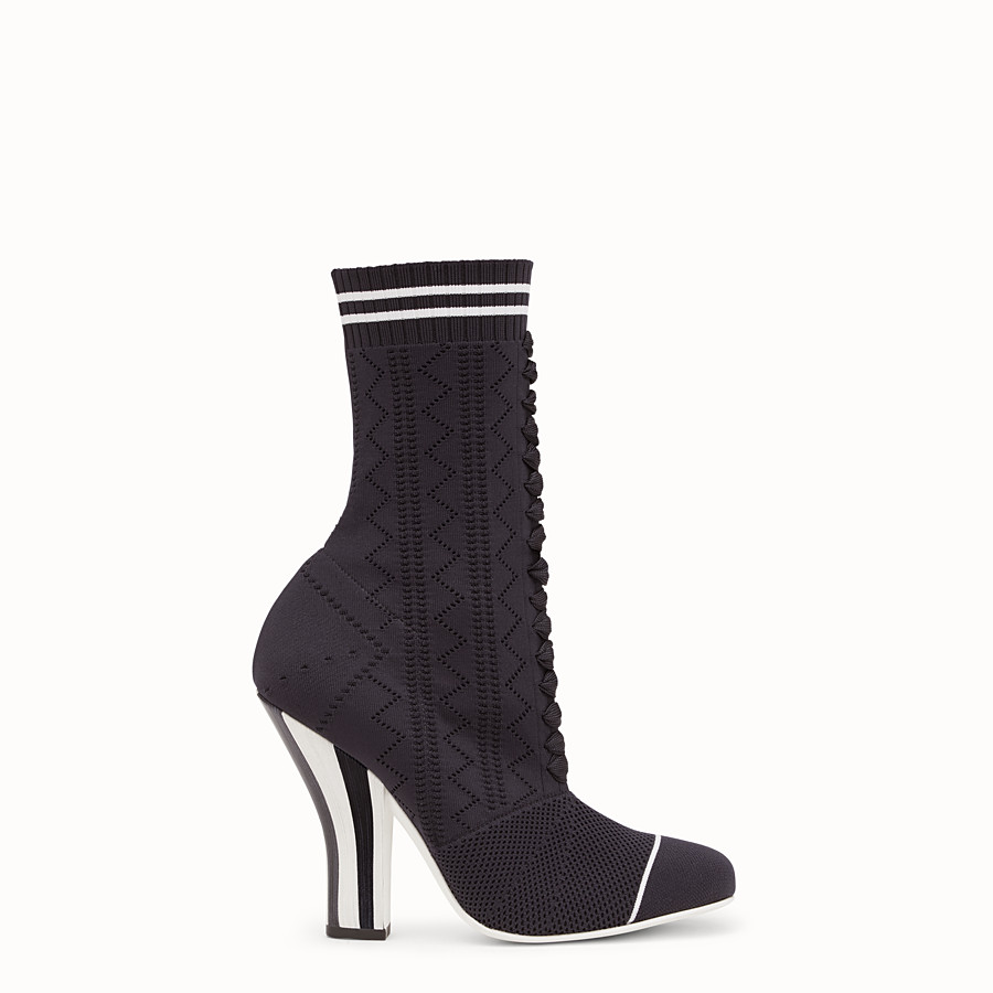 FENDI ANKLE BOOTS - Boots in black and white fabric - view 1 detail