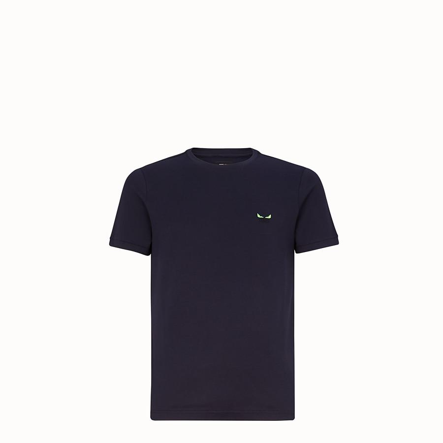 FENDI T-SHIRT - T-shirt in jersey di cotone blu - vista 1 dettaglio