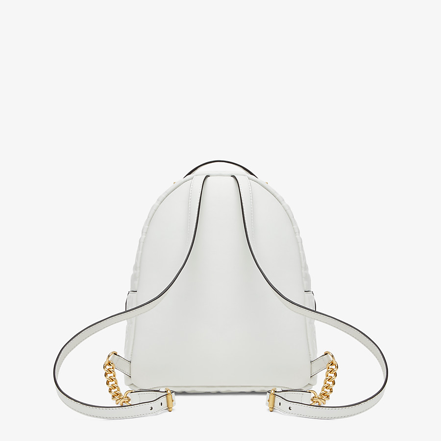 FENDI MINI BACKPACK - White FF leather backpack - view 3 detail