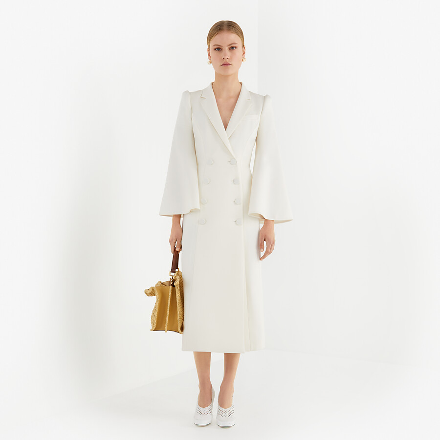 FENDI OVERCOAT - White silk and wool coat - view 4 detail