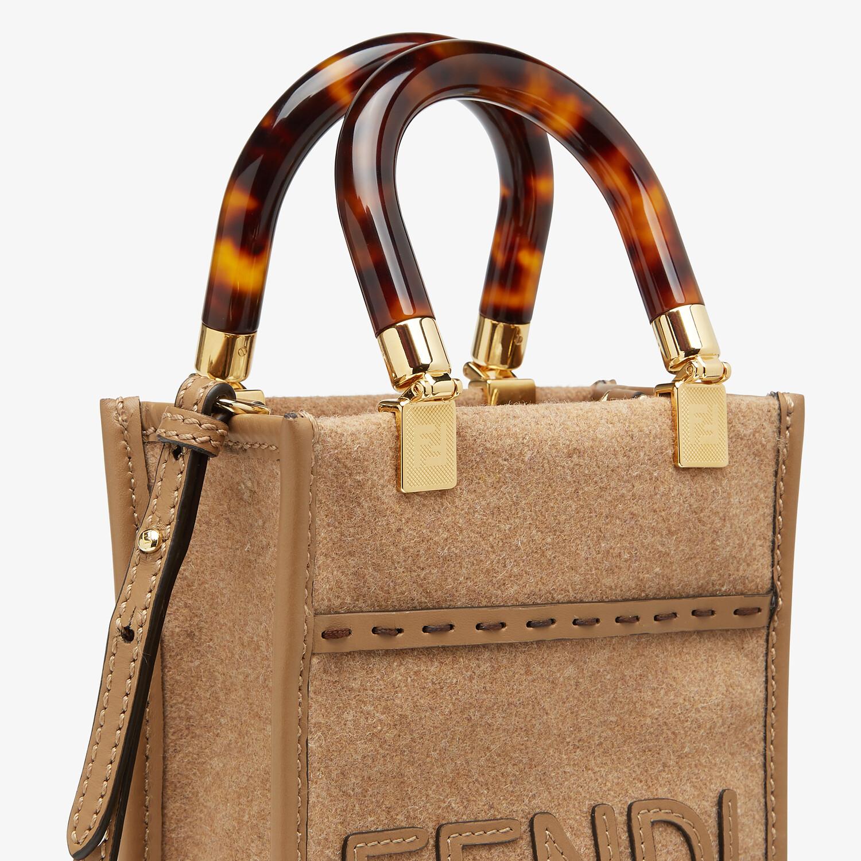 FENDI MINI SUNSHINE SHOPPER - Brown flannel mini-bag - view 6 detail