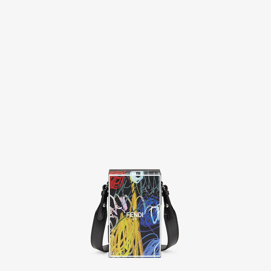 FENDI VERTICAL BOX - Leather bag with multicolor print - view 1 detail