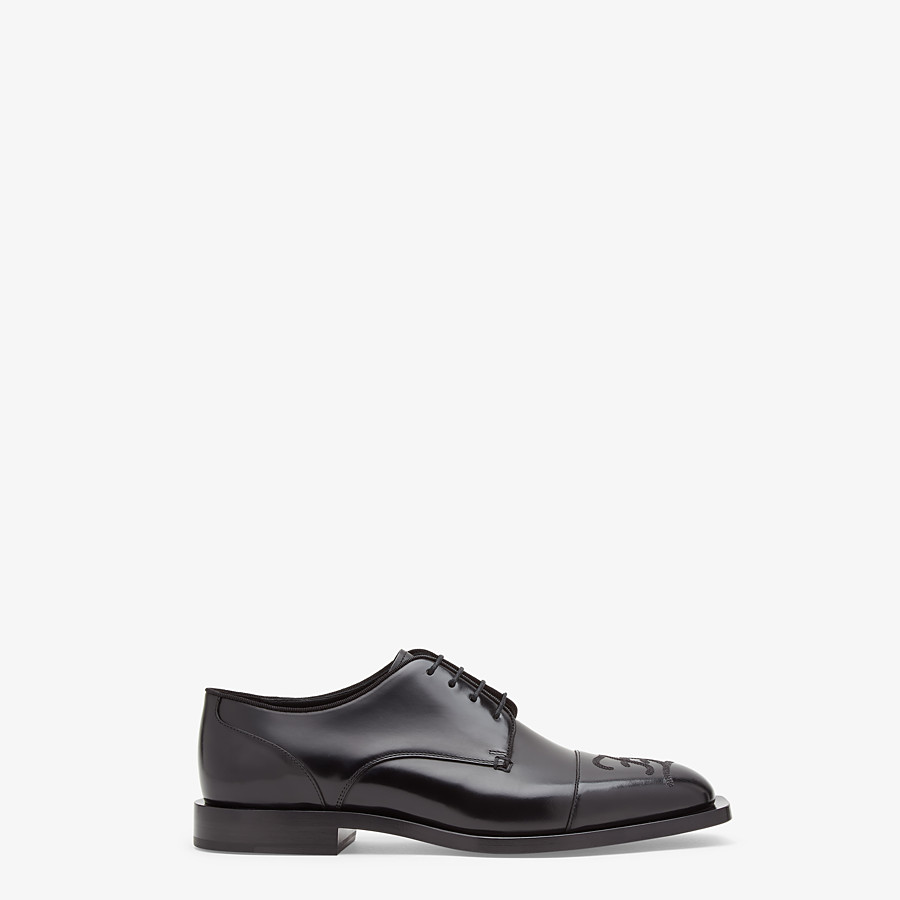 FENDI LACE-UPS - Black leather lace-up - view 1 detail