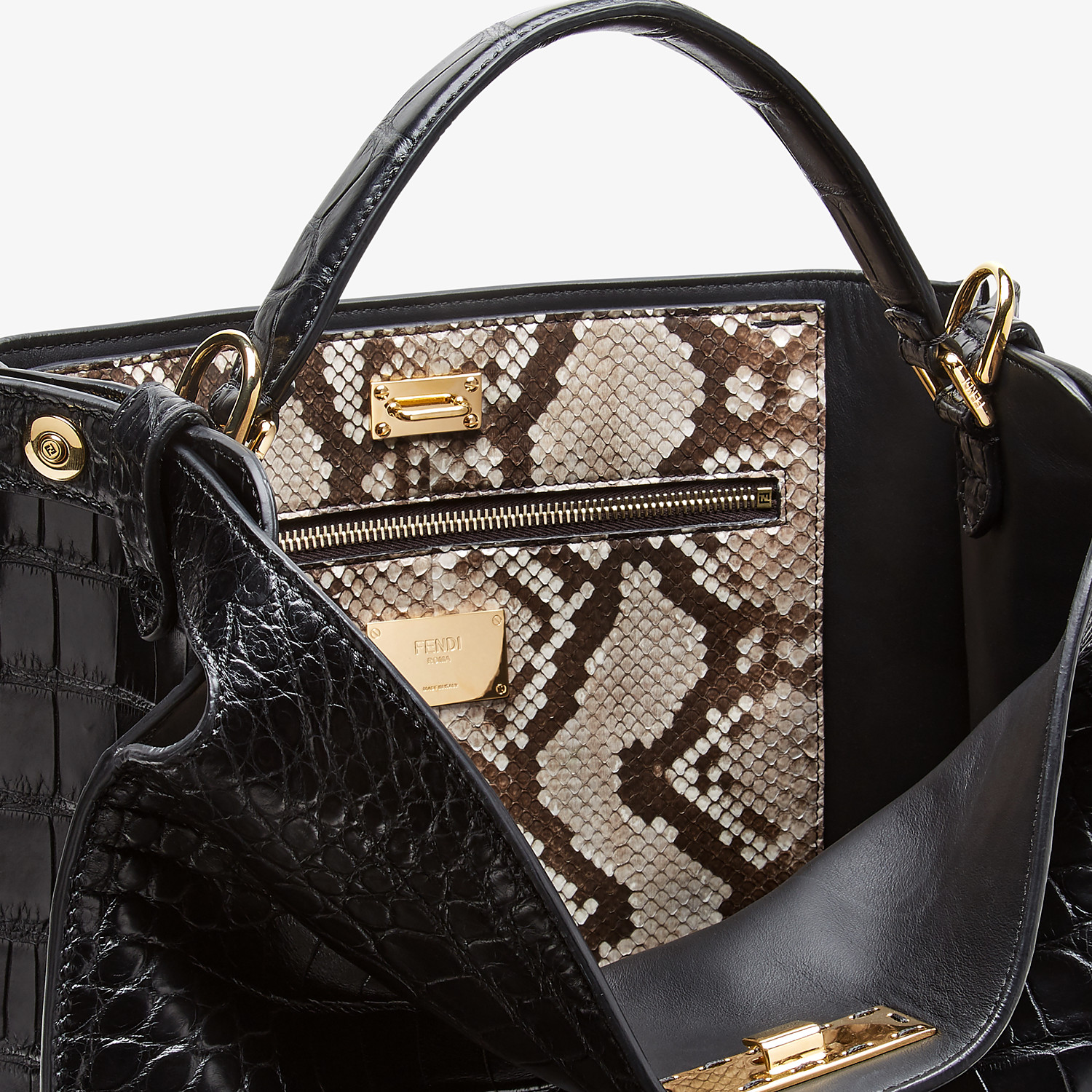 FENDI PEEKABOO X-LITE FIT - Black alligator leather bag - view 6 detail