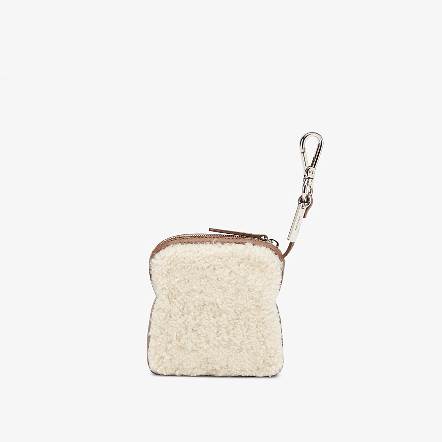 FENDI TOAST BAG CHARM - Multicolour sheepskin charm - view 2 detail