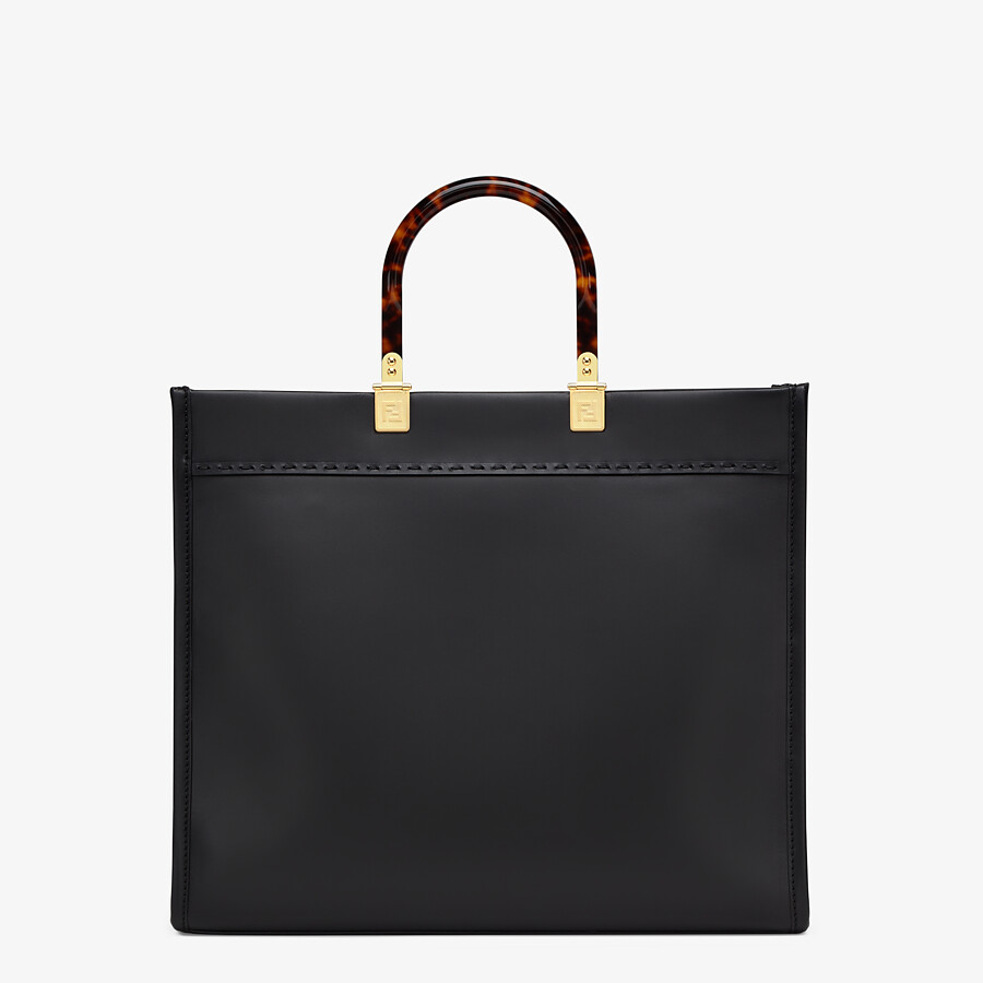 FENDI FENDI SUNSHINE MEDIUM - Black leather shopper - view 4 detail
