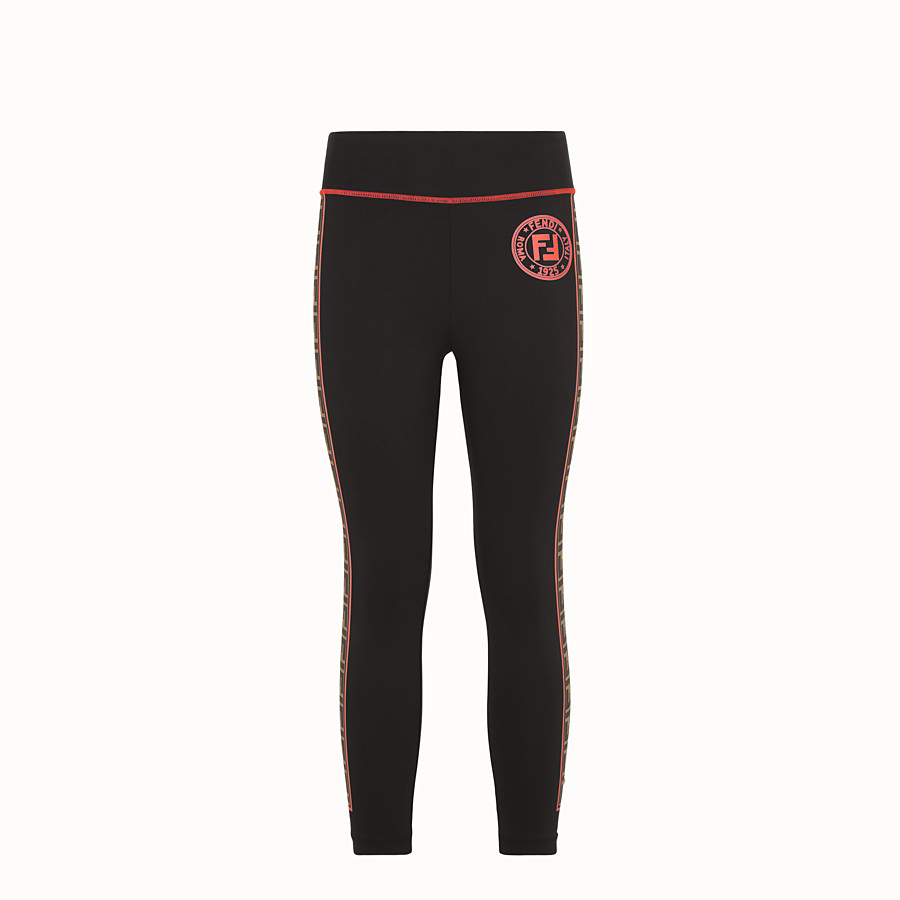 FENDI LEGGINGS - Black stretch fabric trousers - view 1 detail
