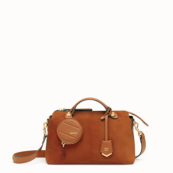 FENDI BY THE WAY MEDIUM - Brown suede Boston bag - view 1 small thumbnail