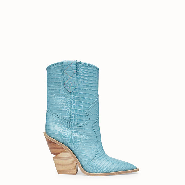 FENDI BOOTS - Pale blue leather ankle boots - view 1 small thumbnail
