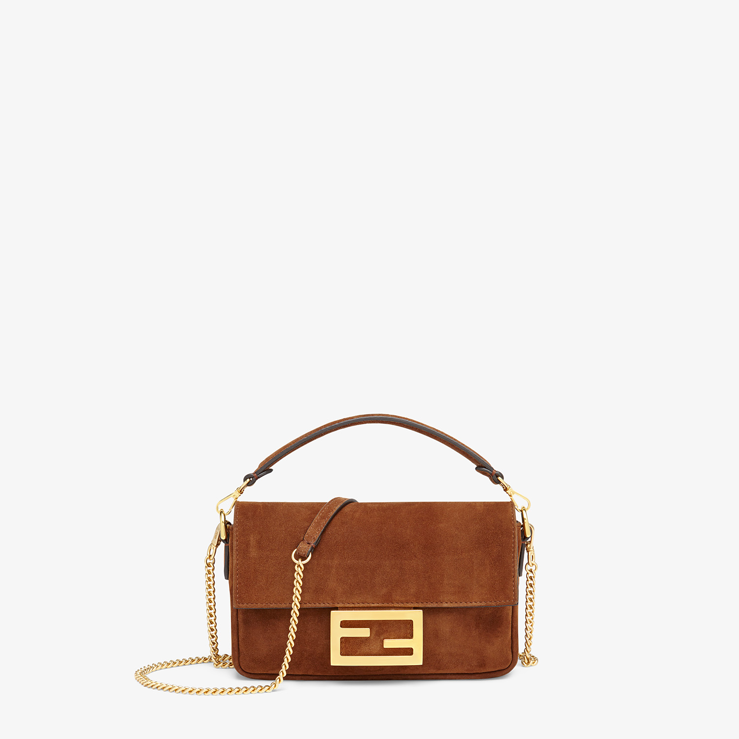 FENDI BAGUETTE MINI CAGE - Brown suede and leather bag - view 3 detail