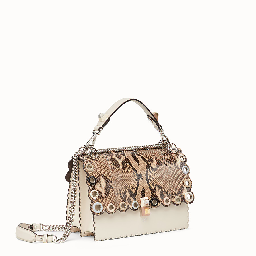 FENDI KAN I - White leather bag with exotic details - view 2 detail