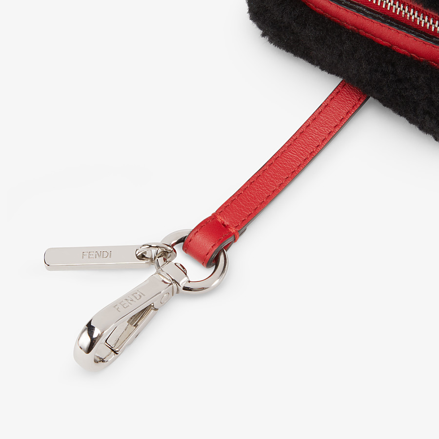 FENDI COIN PURSE - Black sheepskin charm - view 3 detail