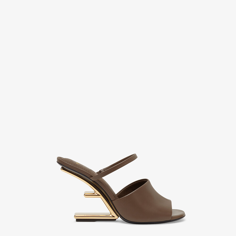 FENDI FENDI FIRST - Brown leather high-heeled sandals - view 1 detail