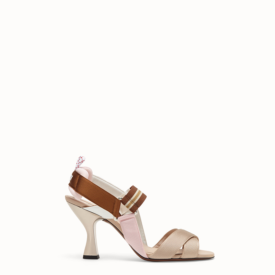 FENDI SANDALS - Beige tech fabric sandals - view 1 detail