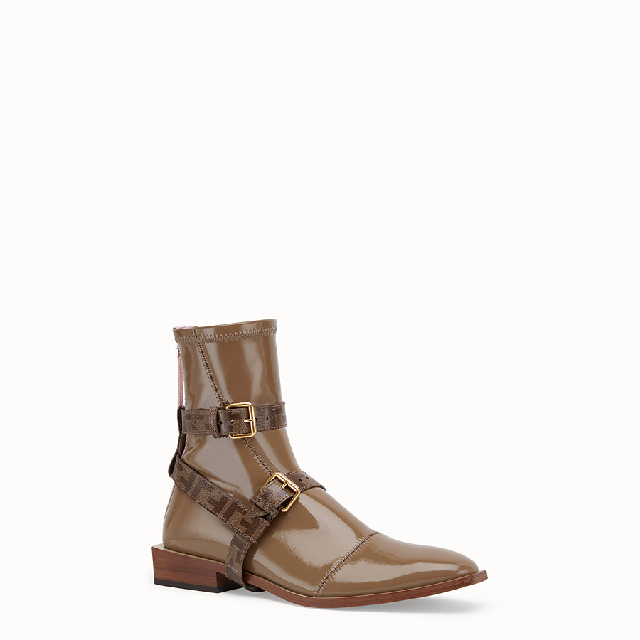 FENDI ANKLE BOOTS - Glossy beige neoprene low ankle boots - view 2 detail