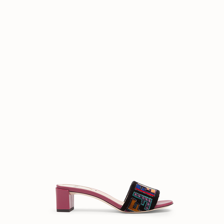 FENDI SANDALS - Multicolour leather and fabric sandals - view 1 detail
