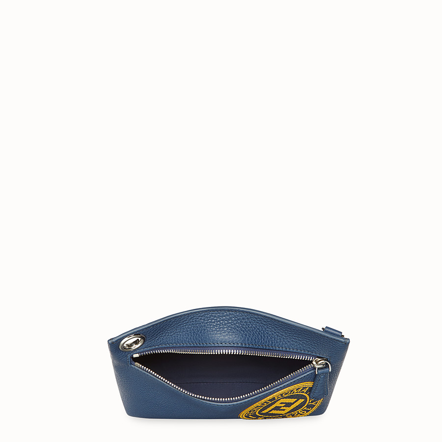 FENDI MEDIUM PYRAMID POUCH - Blue leather pouch - view 3 detail